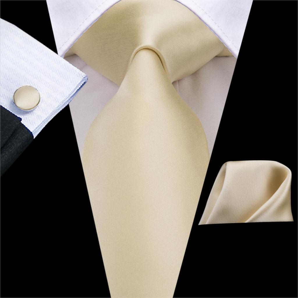 C-3266 Hi-Tie High Quality 100% Silk Ties For Men Soft Silk Solid Ivory Champagne NeckTie Hanky Cufflinks Set Classic Men's Ties