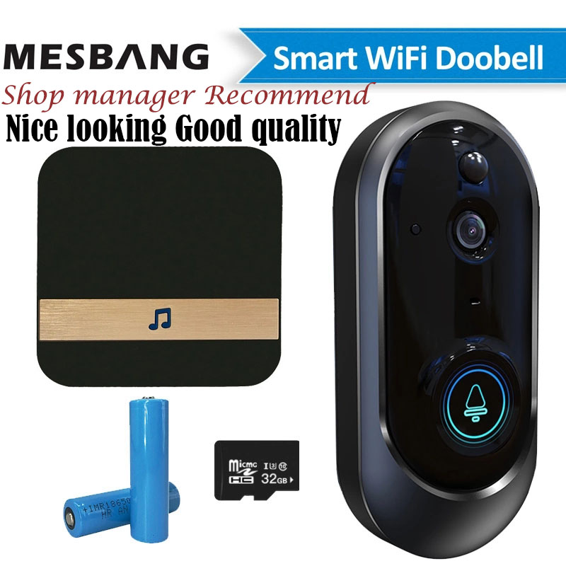 Wifi Video Door Intercom Doorbell Wireless Battery Door Phone Camera Calling  Support TF Card Recording Chime Free Shiping New