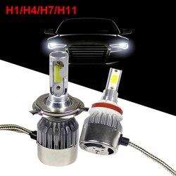 Автомобильные фары H 1 4 7 11 36W ближнего и дальнего света водонепроницаемые 12-24V Авто COB лампочки 6000k 3800LM фары
