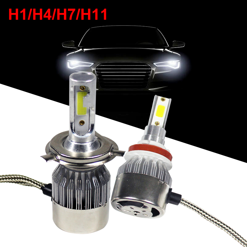 Cars Headlight H 1 4 7 11 36W Low High Beam Waterproof 12-24V Auto COB Light Bulb 6000k 3800LM Headlamps