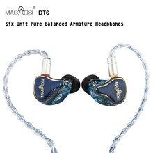 Magaosi DT6 MMCX Earphone Noise Cancelling Audiophile Earbuds Powerful IEM HiFi In-ear Earphone newest yinyoo hq6 6ba in ear earphone custom made balanced armature around ear earphone with mmcx plug earphone