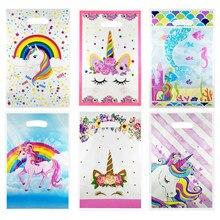 Bolsas de regalo de plástico con forma de unicornio para niños, bolsas desechables con diseño de flamenco, regalo temático, decoración de boda, 20 Uds.