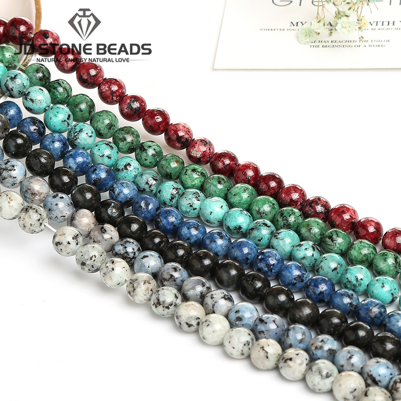 Genuine Colorful Sesame Stone Beads 6 8 10 MM For Jewelry Making DIY Bracelet Necklace Accessory Natural Stone Round Loose Bea
