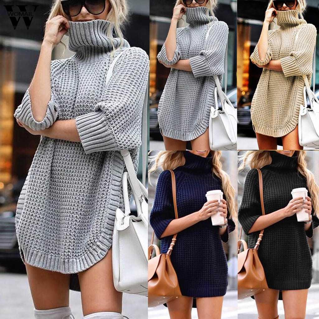 Womail 스웨터 여성 2019 중공 니트 풀오버 스웨터 여성 가을 겨울 스웨터 터틀넥 캐쥬얼 숙녀 점퍼 814