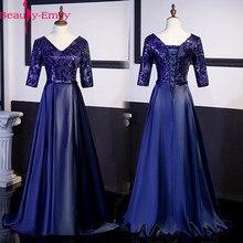 Neue Ankunft 5 Farben Abendkleider Schönheit Emily Elegante V ausschnitt Halbe Hülse Satin Formale Abendkleid Party Kleid mit Schärpen