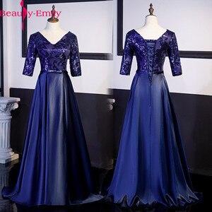 Image 1 - Nieuwe Collectie 5 Kleuren Avondjurken Schoonheid Emily Elegante V hals Half Mouw Satijnen Formele Avondjurk Party Dress met Sjerpen
