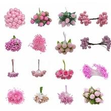 Свадебное украшение розовый искусственный цветок вишня тычинки ягоды DIY цветок венки декоративный торт подарочная коробка Свадебный декор