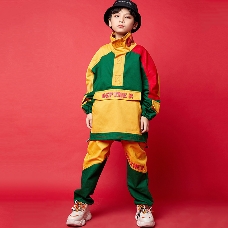 New Hip Hop Costumes Street Dance Clothing Boys Jacket Hiphop Pants Stage Performance Wear Jazz Modern Dancing Outfits DQS3774