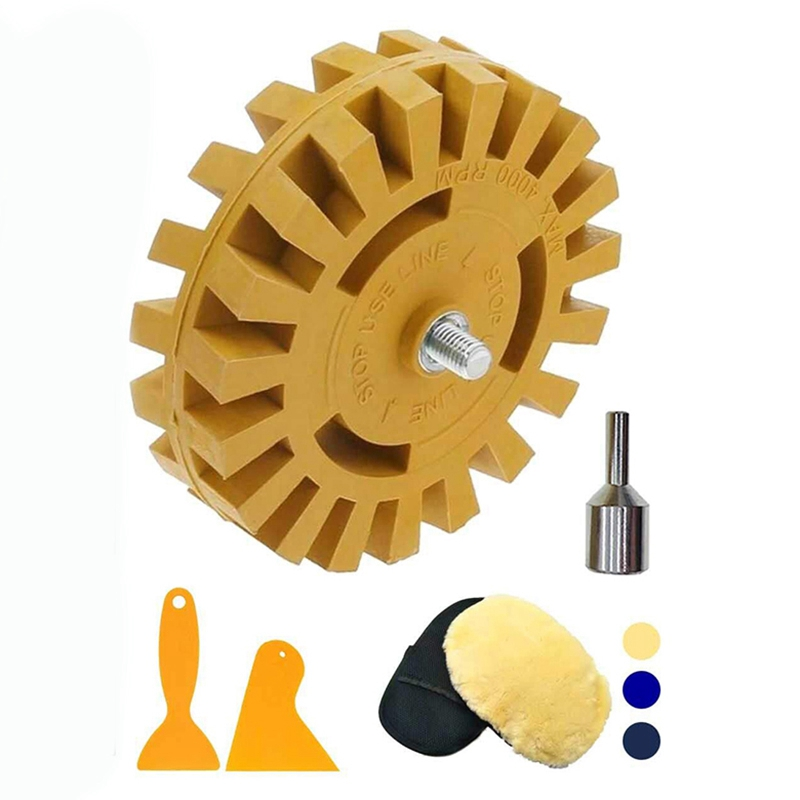 Decal Remover Rubber Eraser Wheel Tool With Drill Adapter 4 Inch Drill Attachment 2 Pieces Hanging Boards And 1Piece Rag For Rem