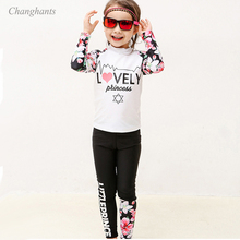 Rash-Guard Swimsuit Long-Sleeve White Y-Girls Two-Pieces Kids And Black with Pink Flowers