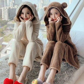 Bonito traje para casa de franela con capucha de oreja de oso para Mujer