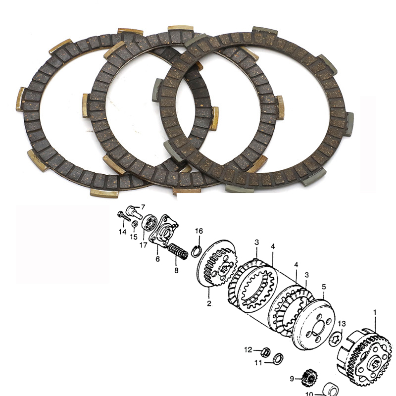 Set of 3 Clutch Friction Plates fit for Honda XR80 1979-1984 , XR80R 1985-2003 XR 80 R Motorcycle replace parts