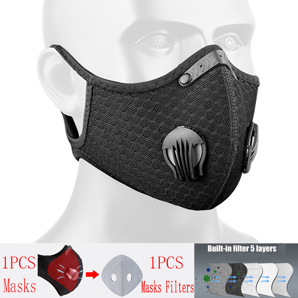 Cycling Face Mask Bike Active Carbon With Filter Mask Breathing Valve Cycling Face Mask