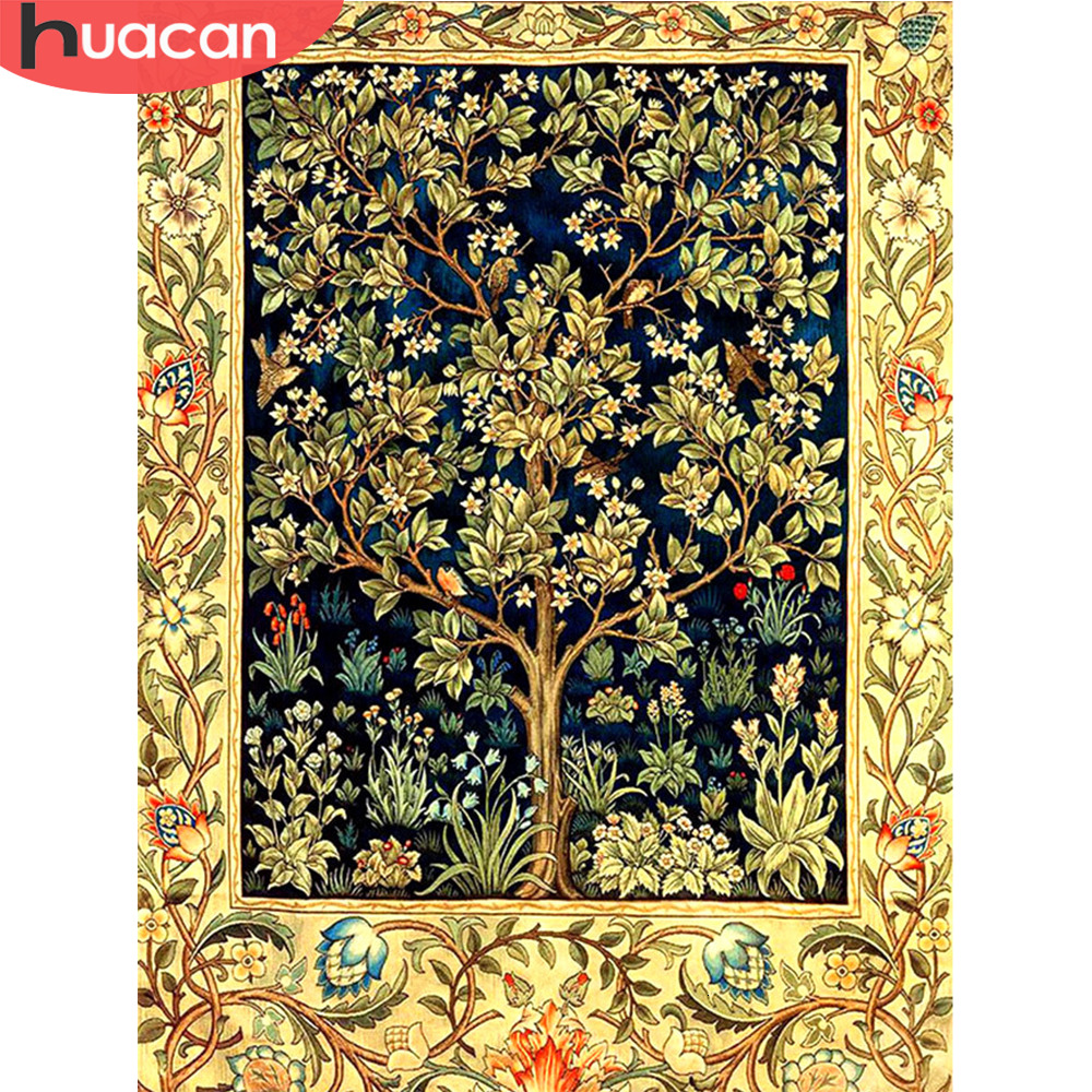 HUACAN 5D DIY Diamond Painting Full Square Drill Flowers Diamond Embroidery Tree Handcraft Kit Christmas Decoration For Home