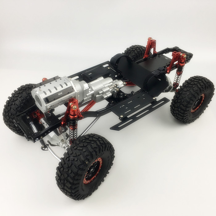 KYX Racing 313mm Two-Speed V8 Engine Gearbox Edition Metal Chassis Frame Upgrade Kit For RC Crawler Car Axial SCX10 II 90046
