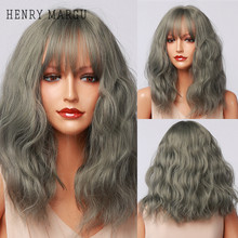 Synthetic Wigs Blue Green Ombre Bangs Henry Margu Heat-Resistant Gray Long-Wave Natural