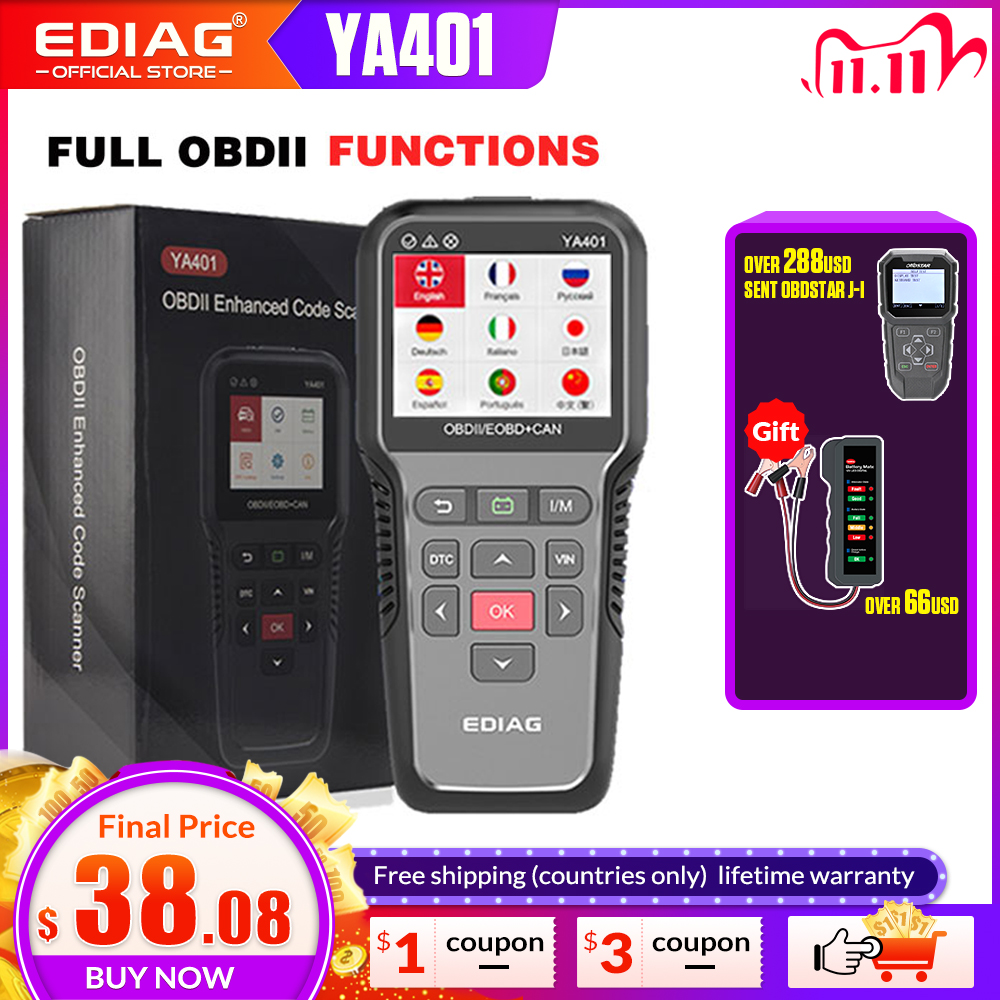 EOBD OBDII code reader YA401 EDIAG Scanner Tool Support Free update Car Diagnosis auto obd2  battery tester 12v PK KW850 CR3001
