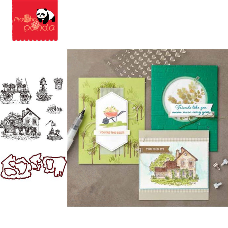 MP064 COUNTRYSIDE Metal Cutting Dies And Stamps For Scrapbooking/diy Christmas Wedding Halloween Cards Hand Account