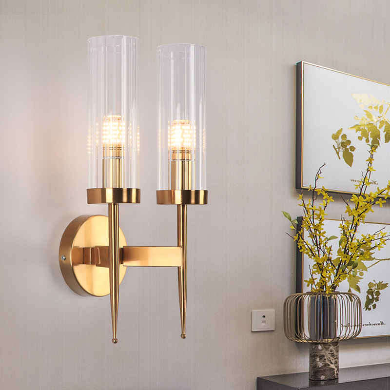 Modern Double Head Gold Wall Sconces Tube Glass Shade Corridor Wall Light Fixuture Living Room Bedside Bathroom Led Wall Lamp Led Indoor Wall Lamps Aliexpress