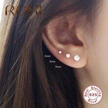 ROXI – boucles d'oreilles à quatre griffes en argent Sterling 925, 3/3/4mm, Solitaire, Piercing pour femmes et filles, boucles d'oreilles rondes en Cartilage, 3 pièces