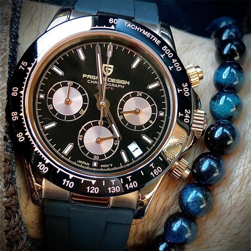 2020 Новый PAGANI DESIGN часы Для мужчин лучший бренд Автоматическая Дата наручные часы Силикагель Водонепроницаемый 100 м Daytona хронограф часы подар...