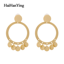 Classic Style Fashion Matte Circle Geometric Ladies Earrings Exaggerated Oversized Fog Gold Drop Luxury Jewelry