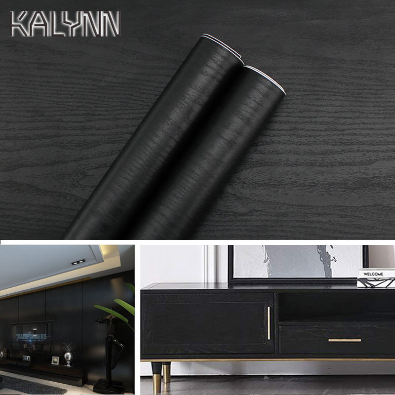 Black Wood Wallpaper 3Mx60CM Self-Adhesive Film For Kitchen Cabinets Countertops PVC Waterproof Wall Sticker Vinyl Contact Paper