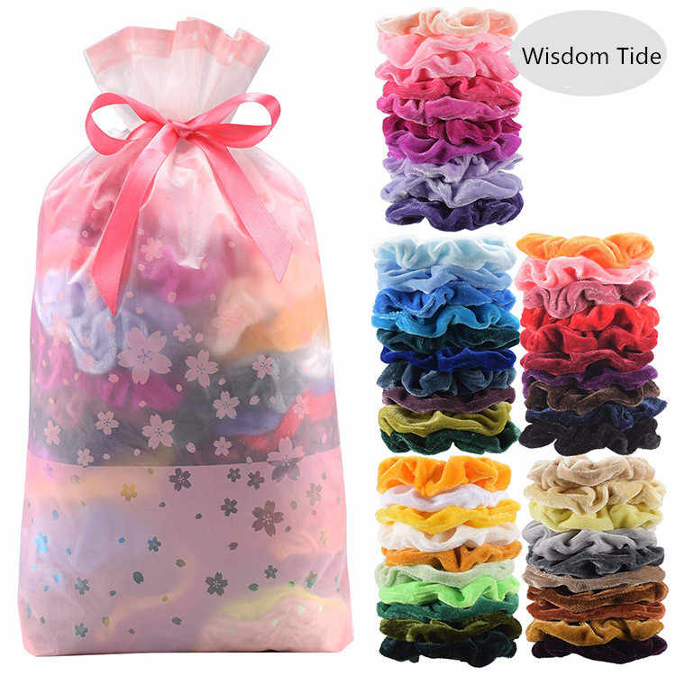 40/50Pcs/LOT Soft Velvet Scrunchie Satin Hair Bands Scrunchies Hairband Hair Ties Gum For Women Ponytail Holder Hair Accessories