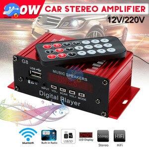 Image 5 - 200W 12V Auto Audio Bluetooth Verstärker HIFI Home Stereo FM Radio USB AUX TF Led bildschirm 2CH Power verstärker mit Fernbedienung