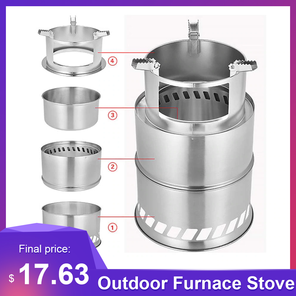 Outdoor  Camping Equipment Cross Border Windproof Wood Stove Cooking Stainless Steel Detachable Furnace Picnic Gas Burner Stove