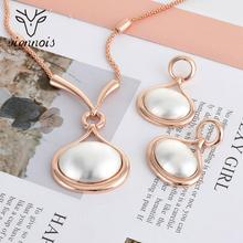Viennois Mix Color Geometric Design Necklace and Dangle Earrings Jewelry Set for Women Dubai Jewelry Set Fashion Jewelry