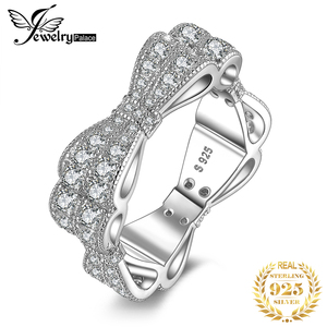 Image 1 - JewelryPalace CZ 결혼 반지 여성을위한 925 스털링 실버 반지 Stackable Anniversary Ring Eternity Band Silver 925 Jewelry
