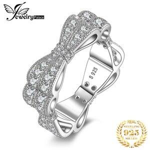 Image 1 - JewelryPalace CZ obrączki 925 srebro pierścionki dla kobiet wieżowych pierścionek jubileuszowy Eternity Band srebro 925 biżuteria
