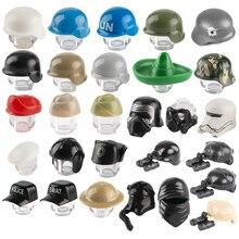 Moc Militaire Wapen Bouwsteen WW2 Leger Soldaten Helm Uk Figuur Politie Swat Cap Gas Maskers Stad Accessoires Bricks Speelgoed c120