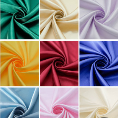 Tecido de seda do forro da tela do cetim de alta densidade para o vestido, camisas, casamento, roupa de dormir pano preto branco verde marinho borgonha vermelho