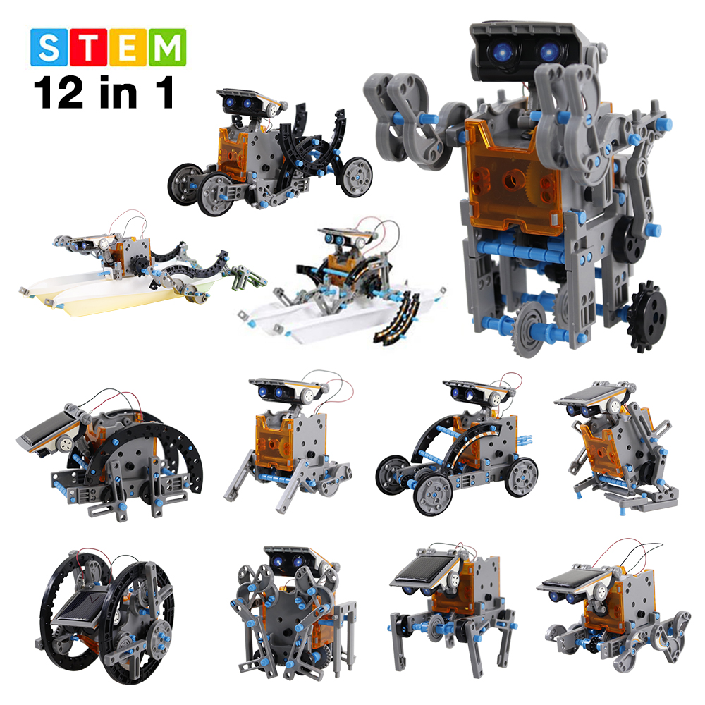 12 In 1 Educational Solar Robot 190 Pieces Kit Solar Powered Motorized Engine and Gears DIY Assembled Blocks Toy For Kids
