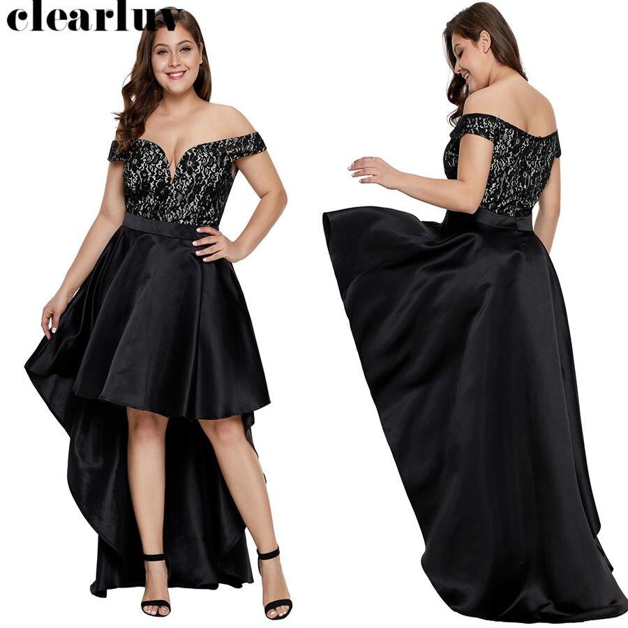 Deep V-neck Prom Dress Black Elegant Women Party Dresses 2019 Plus Size Short Sleeve Vestidos De Gala Trailing Prom Gowns T017