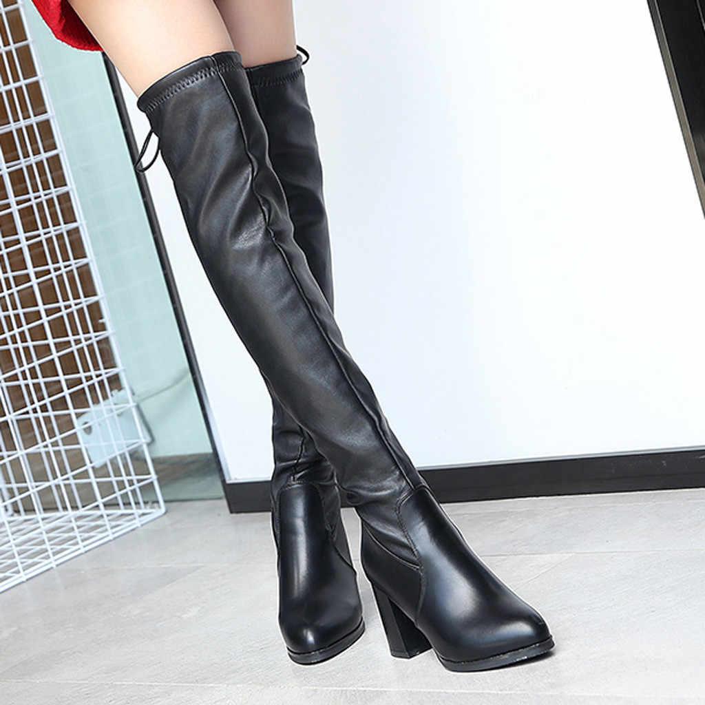 ผู้หญิง Slim รองเท้าเซ็กซี่เข่าสูง Suede รองเท้าบูท Leisure สูงส้น Chunky ต้นขาสูงรองเท้า #823