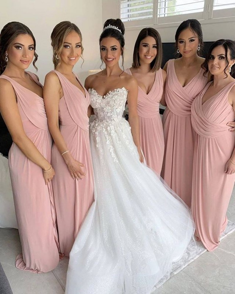 Blush Pink Long Bridesmaid Dress V Neck Sleeveless Ruched Chiffon Wedding Party Maid of Honor Gowns