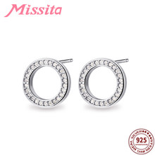 MISSITA 100% 925 Sterling Silver Surround CZ Round Earrings for Women Silver Jewelry Brand Wedding Stud Earrings HOT SELL Gift(China)