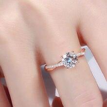 18K Rose Or Bijoux Bague pour Femmes Fines Anillos Mujer Bizuteria Anillos De Diamant Blanc Pierres Précieuses avec Coussin Zircone Anel
