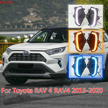 LED Daytime Running Light For Toyota RAV 4 RAV4 2019 Waterproof ABS 12V Car DRL fog lamp With Yellow Turn Signal style relay стоимость