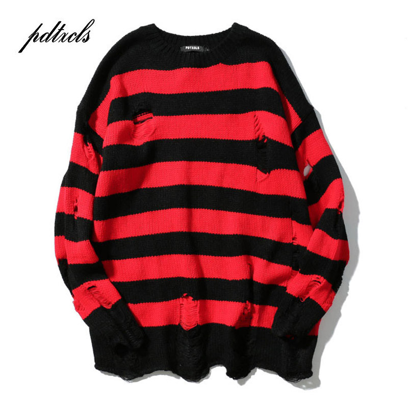 Hot New Ripped Stripe Knit Sweaters Men's Hip Hop Hole Casual Pullover Sweater Male Fashion Loose Long Sleeve Sweaters Red Black