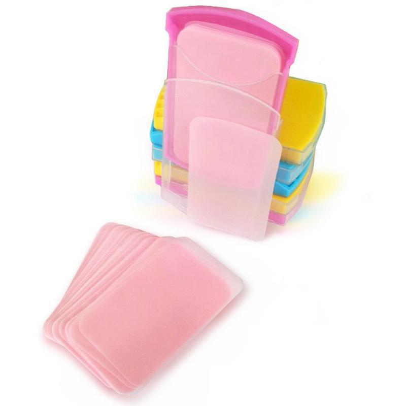 50pcs Portable Travel Antibacterial Soap Washing Hand Bath Clean Scented Slice Sheets Soap Paper Disposable Soap Random Color