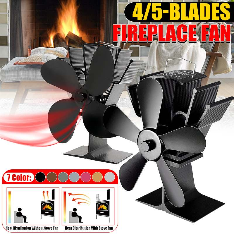 Black Stove Fan 4/5 Blade Fireplace Fan Heat Powered Komin Wood Burner Eco Quiet Home Efficient Heat Distribution