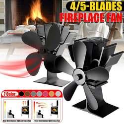 Ventilador negro de la estufa ventilador para hogar con hoja de 4/5 quemador de madera komin con energía térmica