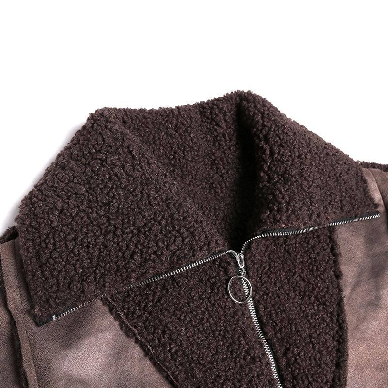 Женский Длинный пуловер из искусственного меха больших размеров, верхняя одежда, женская уличная куртка из овечьей шерсти с замшевой тканью, Толстая куртка с капюшоном в стиле панк - 3