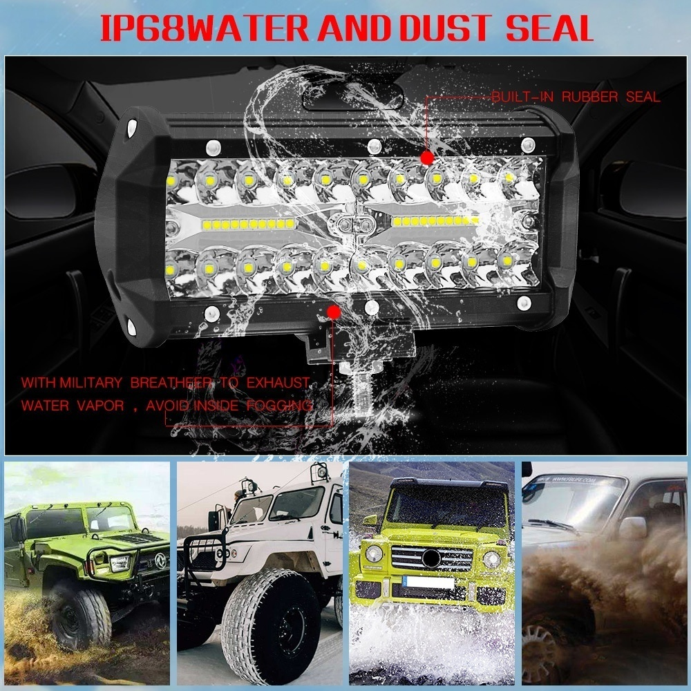 2x 6inch 18W 6 LED Work Light Spot Flood Beam Combo Truck Car Offroad Lamp IP68