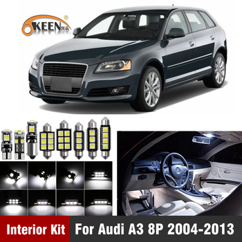 14PCs CAN-bus Error Free W5W T10 Led Interior Light Kit  For Audi A3 8P 2004-2013 Package Replace Bulbs White Car-Styling 14pcs can bus error free w5w t10 led interior light kit for audi a3 8p 2004 2013 package replace bulbs white car styling