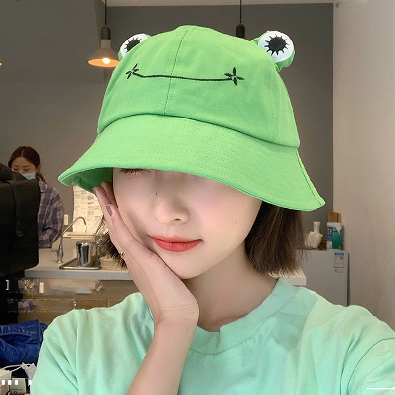 Women Fashion Frog Bucket Hat New Summer Hat Female Parent-Child Frog Fishing Cap Korean Wild Cute Sun Hat Big Eyes Bucket Hat